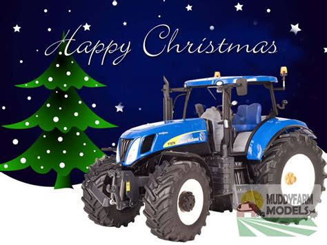 christmas cards  pack showing model  holland tractor  christmas tree