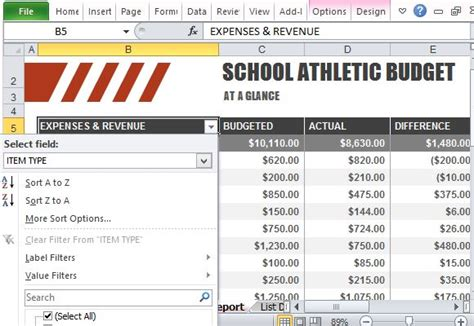 Athletic Budget Template For Excel Club Budget Template