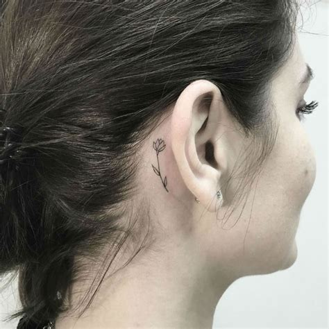 small flower tattoos behind ear 27 subtle small flower tattoos
