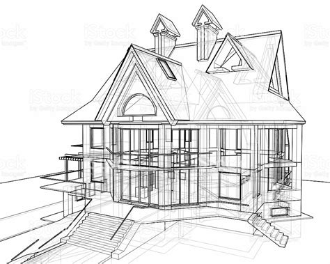 technical drawing house plans house 3d technical draw stock photo istock