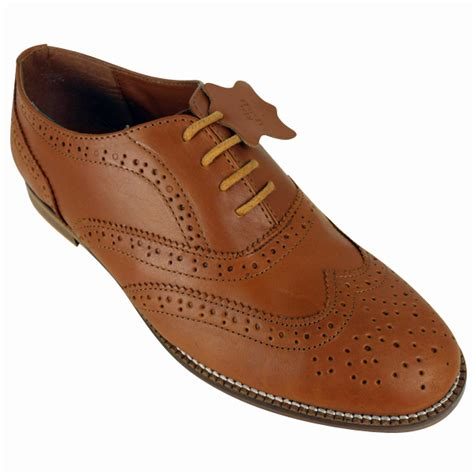 brown leather brogues shoes womens classic