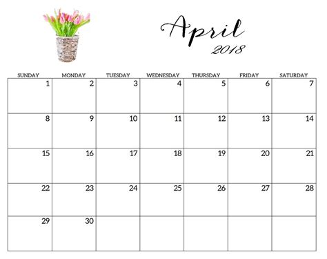 april 2018 calendar calendar month printable