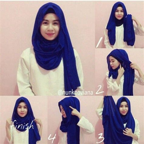 tutorial jilbab segi empat  wajah bulat simple praktis
