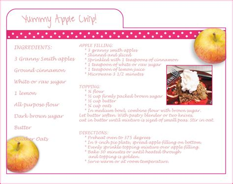 recipes card template for mac henderson rubin creative design studio apple crisp pie