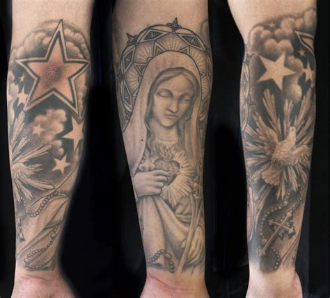 catholic tattoos religious catholic and cross with dove rosary