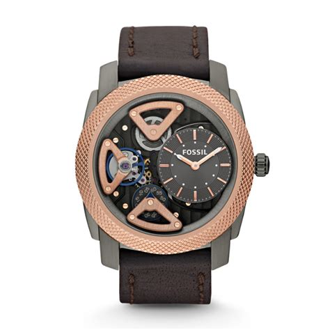 mechanical twist brown leather fossil