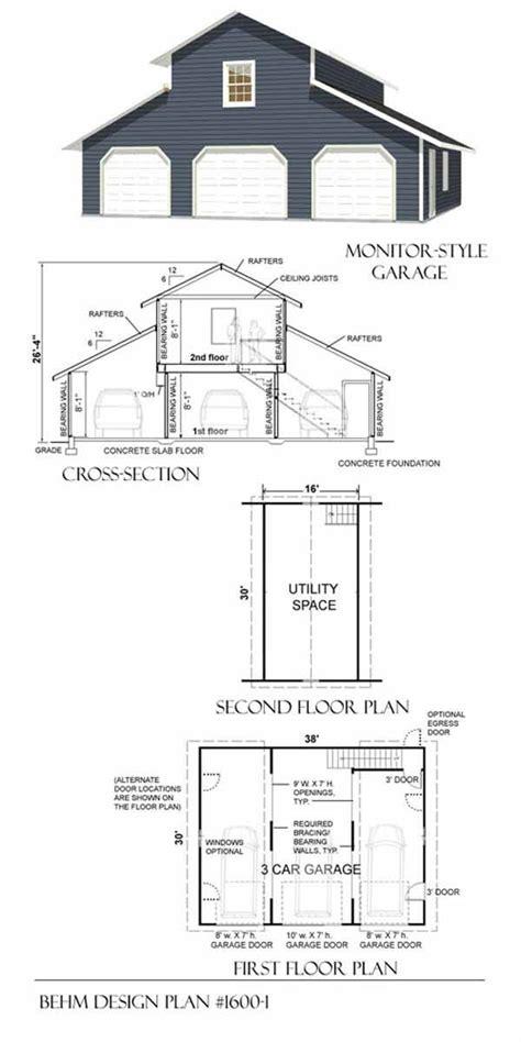 Car Barn Plans by 3 Car Monitor Garage With Loft Plan 1600 1 By Behm Design