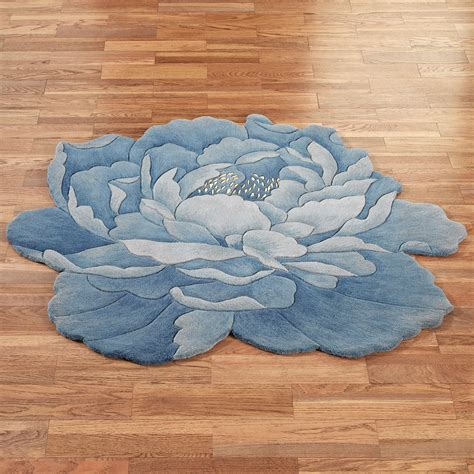 blauer runder teppich blue peony flower shaped rugs