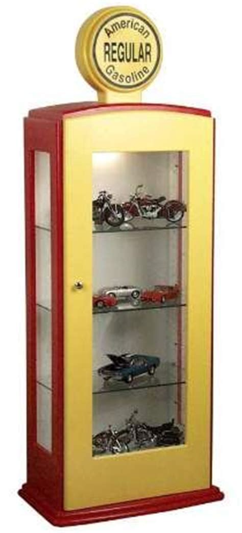 gas pump display cabinet diecast models displayed with pictures of the actual car