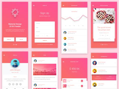 android app ui templates android material design app templates free resources for
