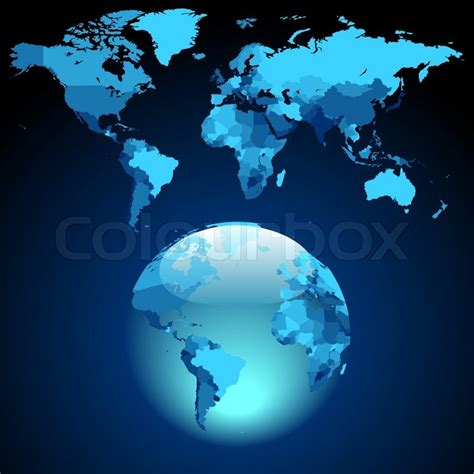 Blue World globe on blue world map stock vector colourbox