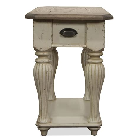Ideas For Chairside Tables Design Chairside Table Made From Reclaimed Wood Painted With White Chalk Paint Color With Drawer