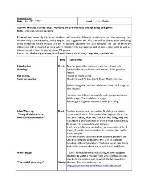 lesson plan 6 modal verbs 2 1ero medio