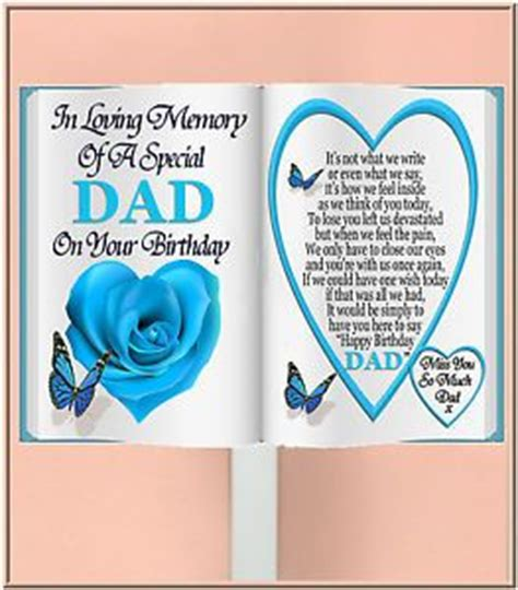 Birthday Cards For The Deceased Special Dad Birthday Book Shaped Memorial Card Holder