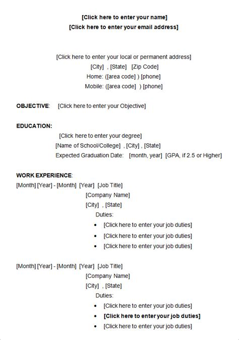 resume exles for college students pdf 10 college resume template sle exles free