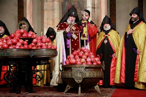 new year traditions and christianity blessing of pomegranates by the armenian catholicos