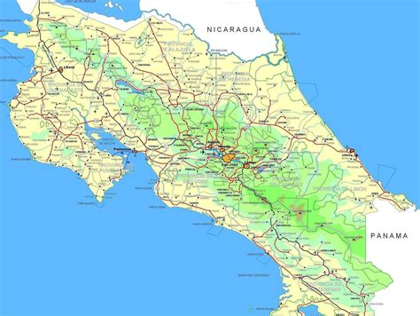 costa rica map with cities maps of costa rica map library maps of the world