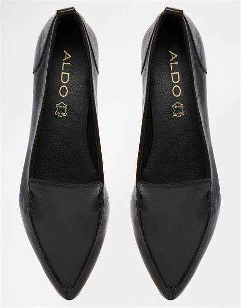 aldo bazovica black leather flat ballerina shoes in black