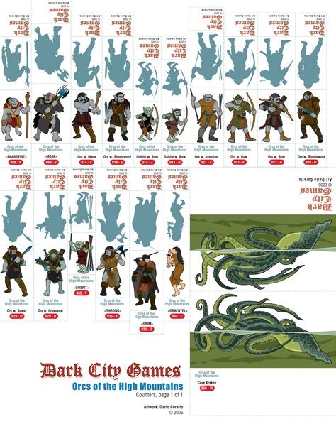 printable heroes bugbear dario s orcs of the high mountains