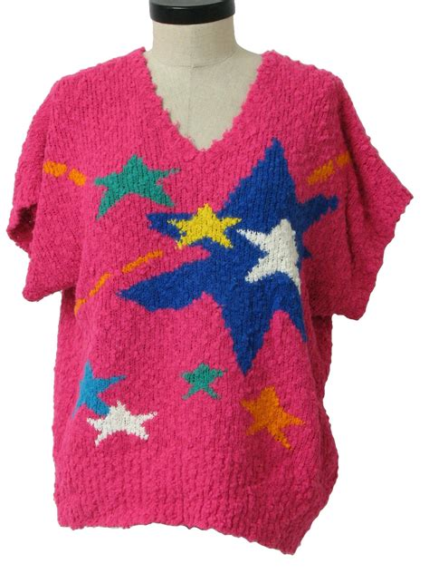 Bow Sleeve Sweater Pink Yellow White Blue retro eighties sweater 80s colter bay womens bright pink with green blue white and yellow