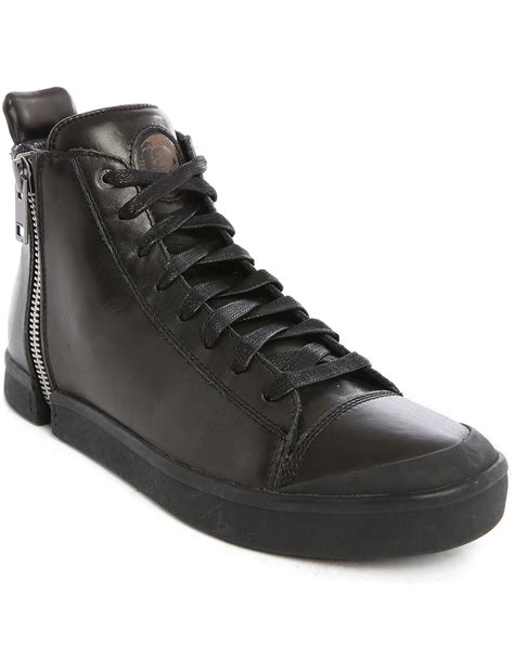 s diesel sneakers diesel s nentish black zip all high top sneakers in