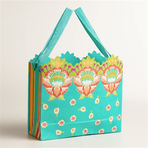 Handmade Craft Bags - large turquoise bettina handmade gift bags set of 2