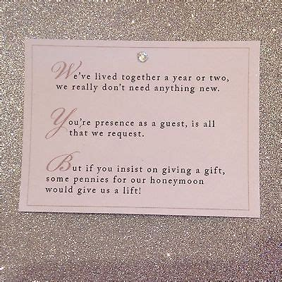 Wedding Gift Of Money by 5 X Wedding Poem Cards For Invitations Money Gift
