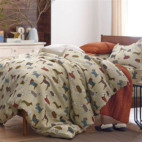 dog bedding set walk the dog flannel duvet cover the company store
