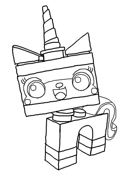 lego kitty coloring pages unikitty lineart by zeochangling on deviantart