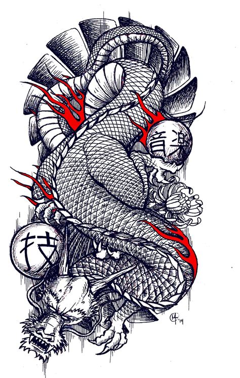 traditional japanese dragon tattoo design by miketooch on