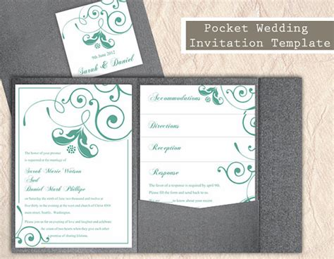 pocket wedding invitation templates pocket wedding invitation template set diy