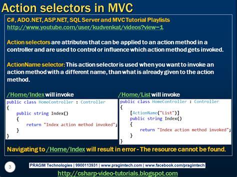 tutorial asp net mvc c sql server net and c video tutorial part 67 action