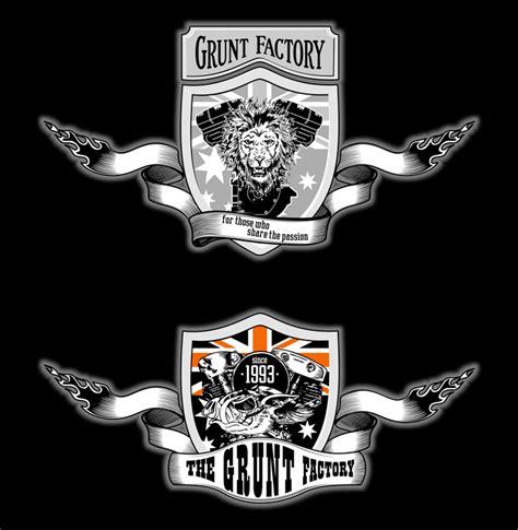 Motorcycle Apparel Yatala by Grunt Factory Logo Design Create Draw Chopper Grunt