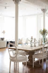 White Rustic Dining Table And Chairs Rustic Table With White Lacquer Chairs Dining Room