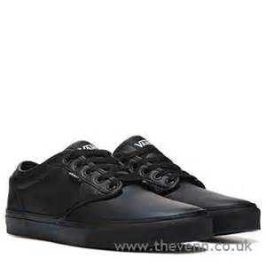 vans s black black leather leather atwood sneaker