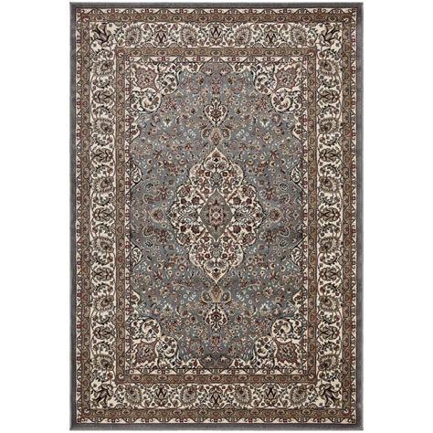 Ottomanson Traditional Medallion Grey 5 Ft 3 In X 7 Ft Rugs Home Depot