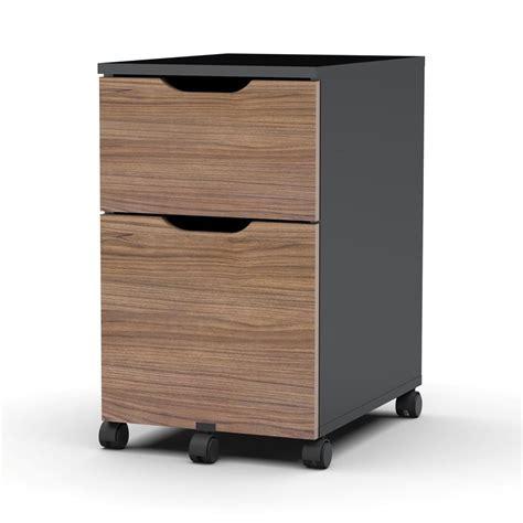shop nexera next walnut black 2 drawer file cabinet at