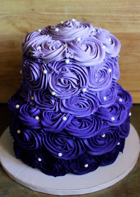 purple ombre rosette cake   sweet  birthday cake
