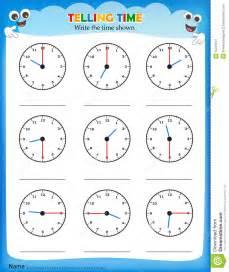 telling time worksheet stock illustration image of