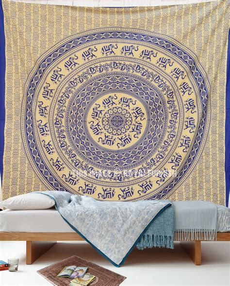 tapestry for bedroom blue indian elephant mandala hippie tapestry wall hanging