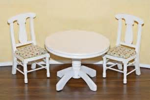 White Kitchen Table Set Dollhouse Miniature White Kitchen Table Chairs Set Ebay