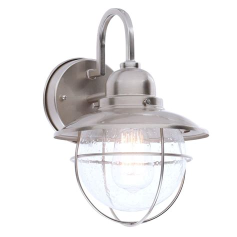 nautical outdoor lighting home depot hton bay 1 light brushed nickel outdoor cottage lantern