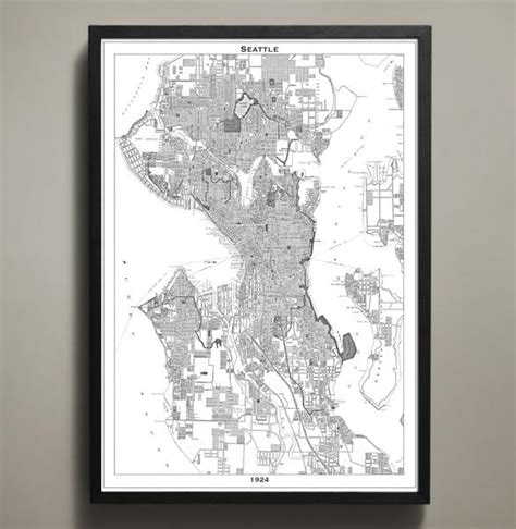 seattle map poster map print seattle map prints by geoartshed