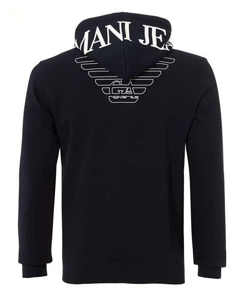 Hoodie Zipper Theater Logo Navy Xxxv Cloth lyst armani logo hoodie zip up navy blue sweatshirt in blue for