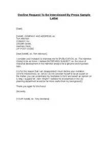 Decline Advertising Letter Decline Request To Be Interviewed By Press Sle Letter Hashdoc
