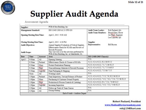 Audit Agenda Template remote auditing and supplier auditing webinar
