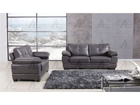 Fabric And Leather Sofa Sets Grey Leather Air Fabric 2pcs Sofa Set