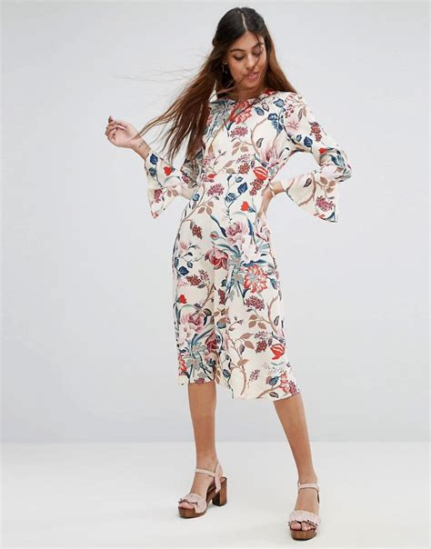 lyst asos printed midi column dress with fluted sleeve