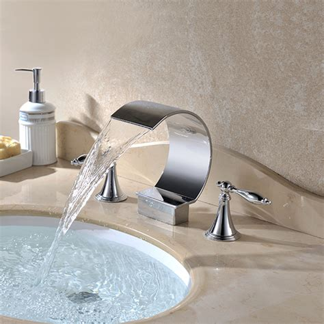 bathroom faucets waterfall chrome finish contemporary waterfall bathroom sink faucets