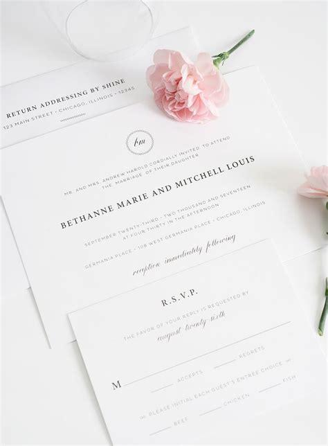 wedding invitation stationery brisbane wedding invitations with a monogram simple